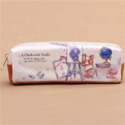 Cream colourful toy bear animals painting pencil case by Kamio from Japan