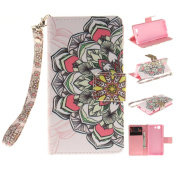 Sony Xperia Z3 Mini Case [With Tempered Glass Screen Protector], Qimmortal(TM) Magnetic Flip Book Style Cover Case ,High Quality Classic Colourful Cool Pattern Design Premium PU Leather Stand Function Folding Magnetic Credit Card Holders Case Cover For ..