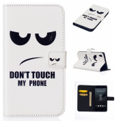 For Sony Xperia Z5 Case Cover [with Free Screen Protector], Qimmortal Practical Fashion Cute Colourful Premium PU Leather Case with Exquisite Design and Comfortable Feelling For Sony Xperia Z5 - Don't touch