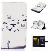 For Sony Xperia Z5 Case Cover [with Free Screen Protector], Qimmortal Practical Fashion Cute Colourful Premium PU Leather Case with Exquisite Design and Comfortable Feelling For Sony Xperia Z5 - Faith