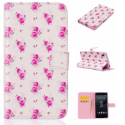 For Sony Xperia Z5 Case Cover [with Free Screen Protector], Qimmortal Practical Fashion Cute Colourful Premium PU Leather Case with Exquisite Design and Comfortable Feelling For Sony Xperia Z5 - Rose