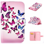 For Samsung Galaxy Grand Neo i9060 Duos Case Cover [with Free Screen Protector], Qimmortal Practical Fashion Cute Colourful Premium PU Leather Case with Exquisite Design and Comfortable Feelling For Samsung Galaxy Grand Neo i9060 Duos - Butterfly