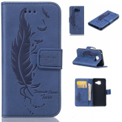 For Samsung Galaxy A3 2016 Case,For Samsung Galaxy A310 Case Cover [with Free Screen Protector], Qimmortal High Quality Leather Case With Beautifully Designed Feather Pattern, Embossing Technology Makes Using Feeling Gentle For Samsung Galaxy A3 (2016) ..