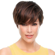 Tonake Stylish Wig Women Lady Short Straight Brown Hair Wig Oblique Bang Heat Resistant