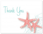 50 Starfish Beach Wedding Shower Thank You Cards