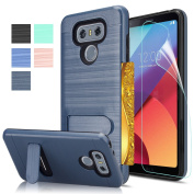 LG G6 Case With HD Screen Protector AnoKe[Card Slots Holder][Not Wallet] Kickstand Hard Plastic PC TPU Soft Hybrid Shockproof Heavy Duty Protective Holster Case for LG G6 (2017) KC1 Metal Slate