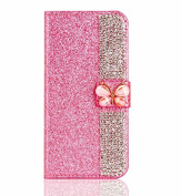 Superstart Pink iPhone 6 Plus/6s Plus 3D Handmade Beauty Butterfly Rhinestone Diamond Case for iPhone 6 Plus/6s Plus Bling PU Leather Flip Stand Credit Card Wallet Cover