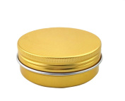 6PCS 60ml/2oz. Round Aluminium Balm Nail Art Case Cosmetic Cream Make Up Pot Jar Tin Case Container with Screw Lid for Making Own Cosmetics/Beauty Products ( Golden Tone)