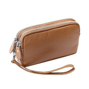 Missmay Women's Genuine Leather Purse Organiser Wallet Zip Coin Bag Wristlet Clutch Card Holder Evening
