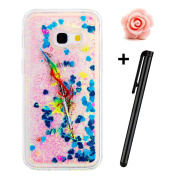 Samsung Galaxy A5 2017 Glitter Case,TOYYM Transparent Clear Floating Sparkle Bling Glitter Case for Samsung Galaxy A5 2017,3D Creative Funny Cute Moving Love Hearts Star Green Feather Design Tpu Protective Shell Case Cover for Samsung Galaxy A5 2017