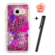 Samsung Galaxy A5 2017 Glitter Case,TOYYM Transparent Clear Floating Sparkle Bling Glitter Case for Samsung Galaxy A5 2017,3D Creative Funny Cute Moving Love Hearts Star Purple Butterfly Design Tpu Protective Shell Case Cover for Samsung Galaxy A5 2017