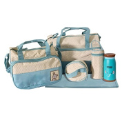 Set Baby Nappy Bag with Insulated Bottle Blue/Beige 5522