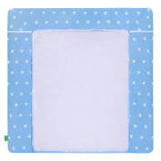 LULANDO Changing Mat with 2 Removable Waterproof Covers 75 x 80 cm or 75 x 85 cm 100% Cotton Frotte, Größe:75x80 cm, Farbe:White Stars / Blue