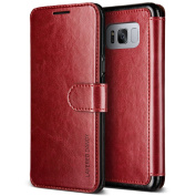 Galaxy S8 Case, [Wine Red] Premium Leather Folio Case Flip Wallet Cover [Layered Dandy] Classic Leather with 3 Card Slots Phone Case by VRS Design® for Samsung Galaxy S8
