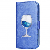iPhone 6S Case,iPhone 6 6S Wallet Case, PHEZEN Bling Liquid Glitter Love Heart Floating 3D Wine Glass Luxury Pu Leather Magnet Flip Case Cover with Credit Card Slots for iPhone 6/6S 12cm , Blue