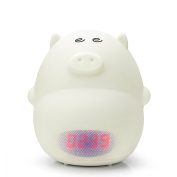 GoLine Alarm Clock Night Light, Cute Pig Soft LED Multicolor Wake Up Lamp for Kids Bedroom, 2 Alarms, 3 Sounds, 7 Colours, Tap Control, Temperature Display, Easy Setting, AC/Battery Powered.