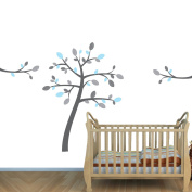 Fabric Tree Decal for Blue and Grey Themed Nursery Room