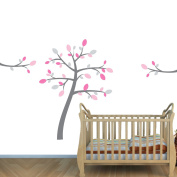 Pink & Grey Leaves on a Grey Tree Wall Decal