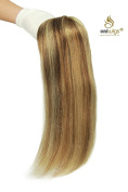 Uniwigs Remy Human Hair Mono Hairpiece, Hand Made Tied Hair Topper, Straight 41cm , Add Hair Volume Instantly for Hair Loss