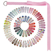 QtGirl Snap Hair Clips with Pattern 72pcs 5.1cm Girls Hair Clip Barrettes with Clip Hanger