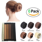 iWenSheng Fashion 6pcs Buns Maker Women Girls Kids Magic DIY Hair Bun Making Curler Roller Tools