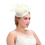 Valdler Ivory Feather Sinamay shaped Fascinator Hat For Tea Party