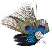 Fascigirl Fascinator Peacock Feather Headdress Wedding Hair Clip Headwear for Women