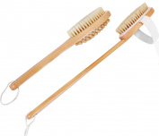 100 Percent Natural Boar Bristle Wooden Bath and Body Brush Set with Back Scrubber and Long Handle - Exfoliate Skin and Cellulite - by Utopia Home