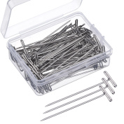 Mudder 100 Pack Wig T-Pins 5.1cm with Plastic Box, Silver