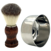 Wood Handle Synthetic Nylon Shaving Brush and Stainless Steel SUS420 Shaving Soap Bowl/Mug,Use for Old Fashioned Double Edge Safety Razor or Multi Blade Razor - Made for Modern Gentlemen