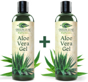 Green Leaf Naturals Organic Aloe Vera Gel, Pure Thin-Gel Formula for Skin, Face and Hair, 470ml 2-Pack