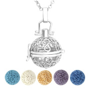 Top Plaza Aromatherapy Essential Oil Diffuser Necklace Antique Silver Flower Locket Pendant Necklace W/5 Dyed Lava Stones