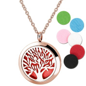 Rose Gold Tree of Life Aromatherapy Essential Oil Diffuser Locket 316L Surgical Steel Perfume Necklace Pendant & 6pcs Refill Pads