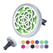 HOUSWEETY Car Air Freshener Aromatherapy Essential Oil Diffuser - Celtic Knot Stainless Steel Locket,12 Refill Pads