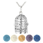 Top Plaza Top Plaza Aromatherapy Essential Oil Diffuser Necklace Antique Silver Bird Cage Locket Pendant Necklace W/5 Dyed Lava Stones