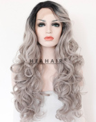 Heahair Ombre Silver Synthetic Lace Front Wigs HS3001