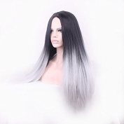 JK 70cm Ombre Synthetic Wig Dark Roots Natural Straight Long Silver Grey Hair Wigs For Women Heat Resistant Fibre