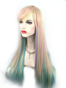 JK Ombre Blonde Multi-colour Wig Long Natural Straight Heat Resistant Synthetic Hair