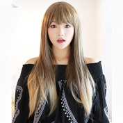 JK 70cm Linen Blonde Straight Synthetic Wig with Bang Heat Resistant Fibre with a Free wig cap
