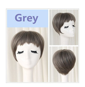 Women's Grey Short Bob Wig Synthetic Hair with bangs