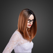 JK Brown Ombre Wig Short Straight Synthetic Wig Heat Resistant Fibre with a Free wig cap