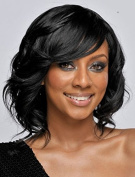 Women's Black Short Curly Wig Synthetic Hair with Side bangs