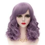 "Lolita 13.8""-35CM Women's Short Small Curly Wave Wig Fashion Cosplay Synthetic Hair Wigs, Wistful Mauve"