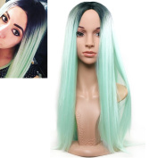 RightOn 29.5'' Long Straight Dark Roots Ombre Mint Green Synthetic Wigs with Wig Cap and Comb