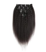 KEYU Coarse Yaki Straight Peruvian Hair Kinky Straight Women Human Hair Extensions Clip in 10Pcs/Set 120Gram