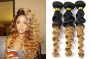 Top Hair Loose Wave Peruvian Hair 3 Bundles,Wavy 1B/27 Peruvian Virgin Hair Curly Weave 2 Tone Ombre Hair Extensions Human Hair Bundles Black To Blonde