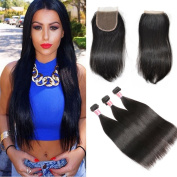 Beauty Princess Brazilian Straight Weave 3 Bundles with Lace Closure 7A Unprocessed Vigin Human Hair with 4×10cm Free Part Natural Colour