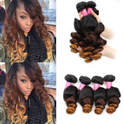 Mink Hair Ombre Hair Extensions (18 20 22 22) Brazilian 3 Tone Ombre Loose Wave Hair Bundles 8A Virgin Human Hair Weavy 1B/4/27 Colour 100g/bundle
