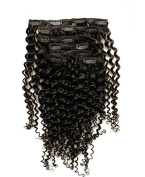 KEYU Brazilian Human Hair Kinky Curly Hair Extensions Clip in 7Pcs/Set 70g Colour Natural Black