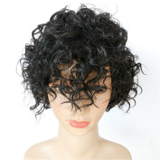 DAYISS Women's Short Curly Wavy Full Wig Cosplay Heat Resistant Side Bangs Costume Mom's Daily Hair Black
